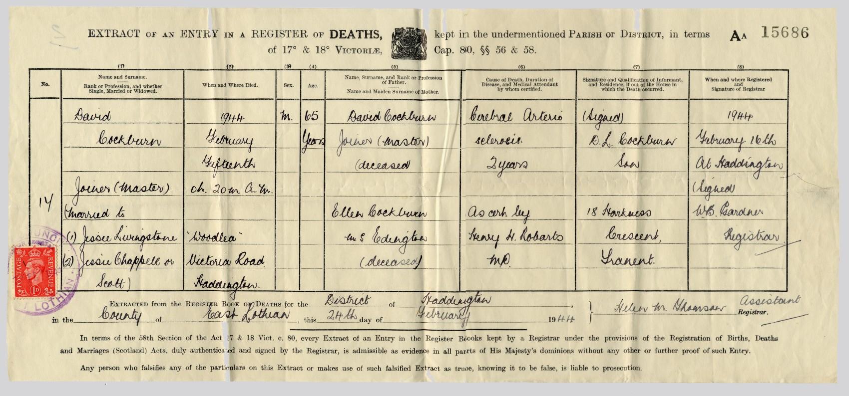 Cockburn family tree genealogy in scotland david cockburn junior master joiner haddington birth certificate 1878 aiddatafo Image collections